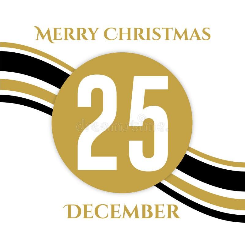 December-Cirkelachtergrond zwarte en gouden Kerstmisachtergrond royalty-vrije stock afbeeldingen