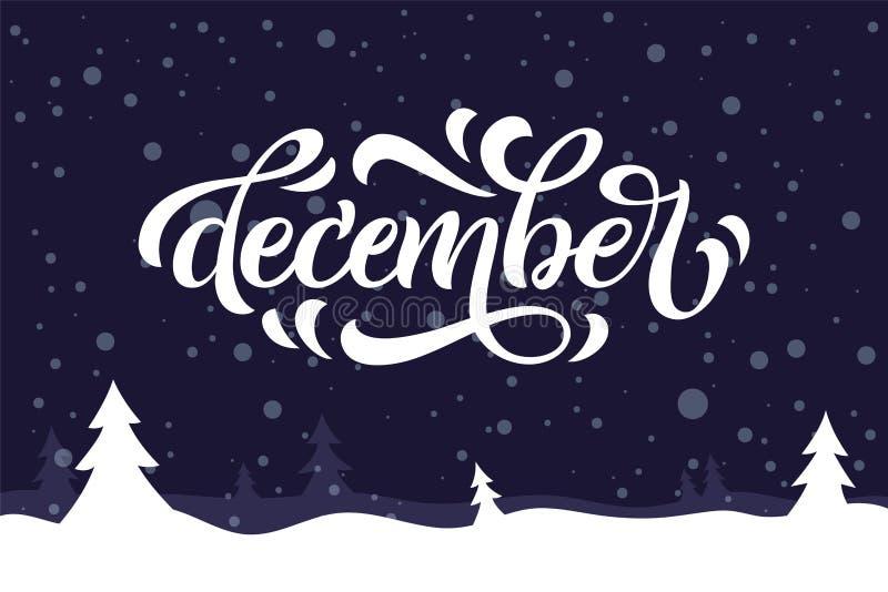 December-citaat op blauwe achtergrond De kaart van de vakantiegroet met sparren, sneeuw en kalligrafieelementen Het met de hand g royalty-vrije illustratie