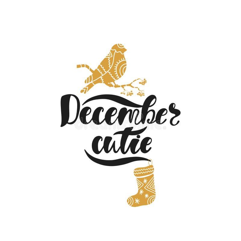 December cutie Hand getrokken kalligrafietekst Het ontwerp van de vakantietypografie met goudvink en sok Zwarte en gouden Kerstmi royalty-vrije illustratie