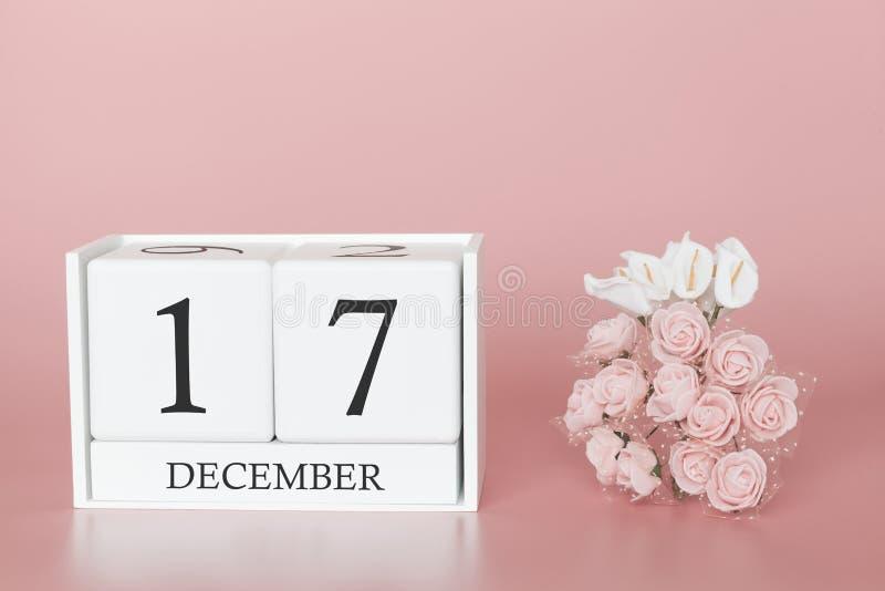 17 december Dag 17 van maand Kalenderkubus op moderne roze achtergrond, concept zaken en een belangrijke gebeurtenis stock fotografie