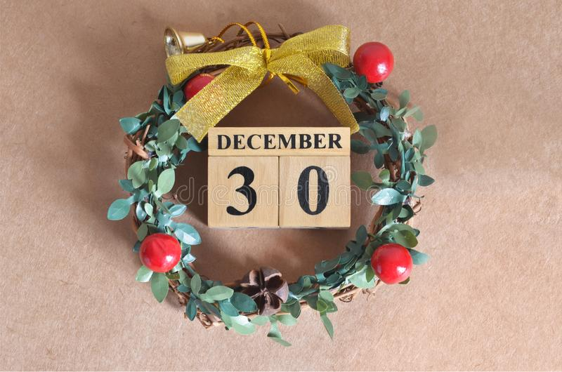 December 30. Date of December month. stock photo
