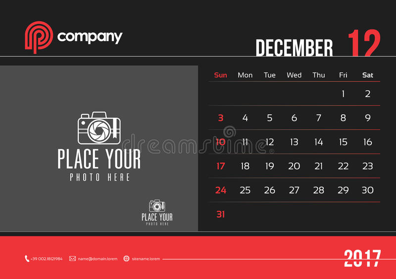 December-de Zondag van het het Ontwerp 2017 Begin van de Bureaukalender royalty-vrije stock fotografie