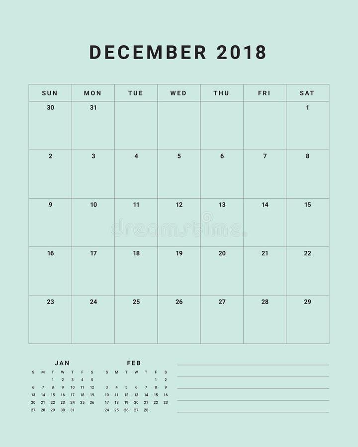 Download December 2018 Desk Calendar Vector Illustration Stock Vector - Illustration of design, 2018: 104387466