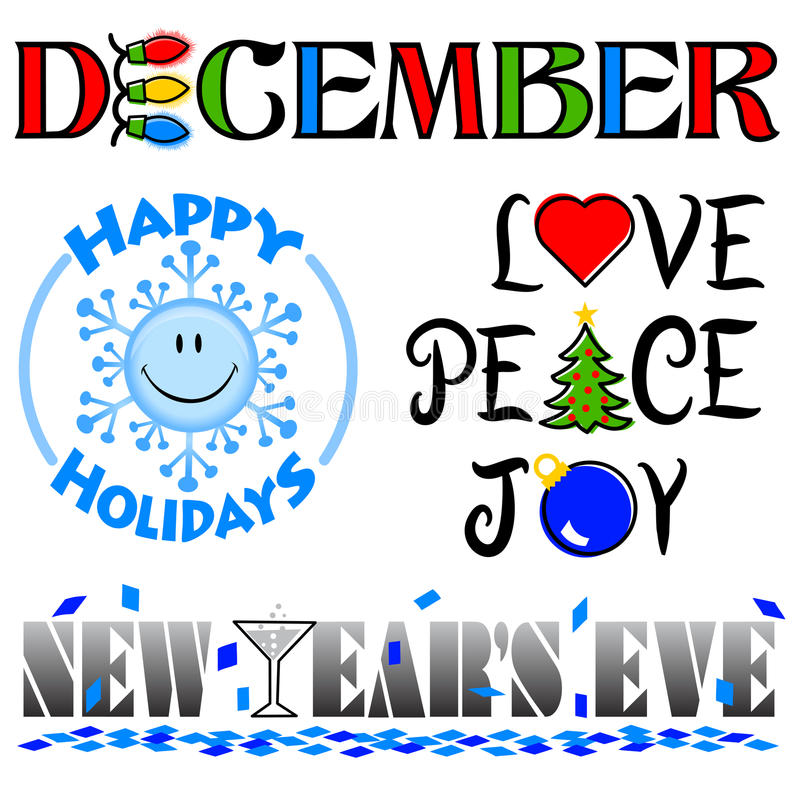 December Events Clip Art Set/eps. Illustrated headlines for December events including a Happy Holidays winter smiley face, Love, Peace and Joy for Christmas and stock illustration