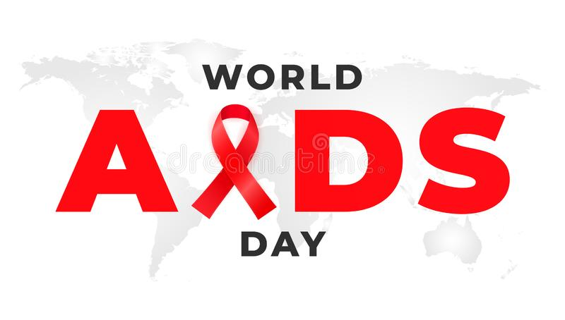 1 of December is the global WORLD AIDS DAY. Background with red awareness ribbon vector illustration