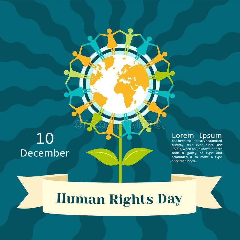 December-het conceptenachtergrond van de rechten van de mensdag, vlakke stijl royalty-vrije illustratie