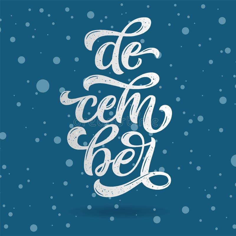 December-het van letters voorzien typografie Typografie creatief ontwerp voor groetkaart, uitnodiging, affiche, vakantiebanner, b royalty-vrije illustratie