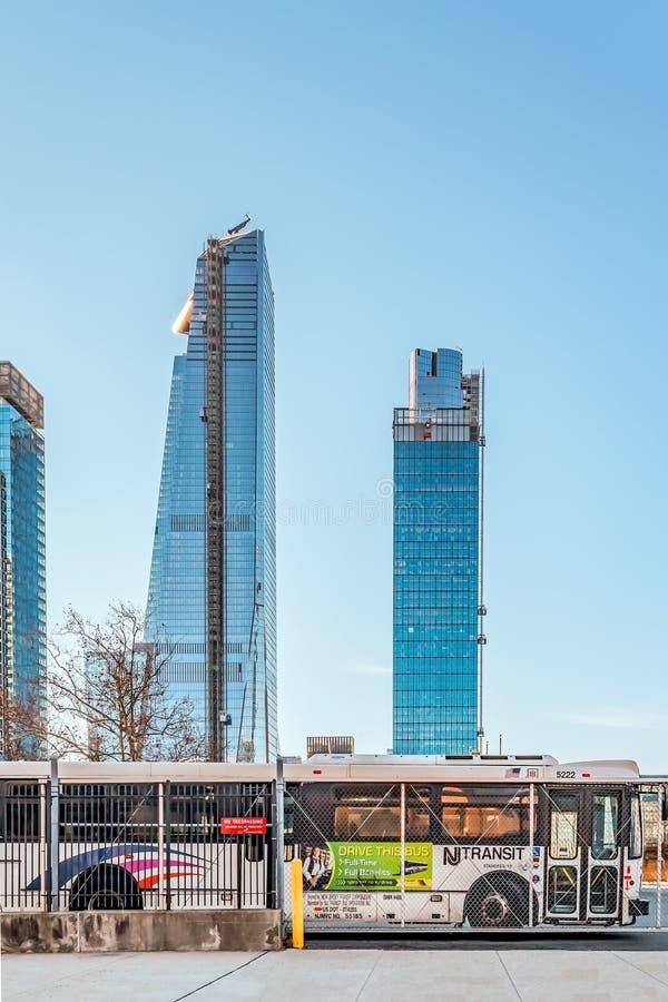 New York, December, 2018: Huge Beautiful Buildings view stock image