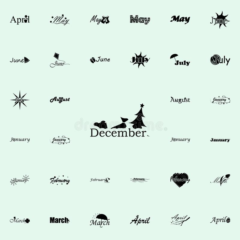 December icon. Name of month icons universal set for web and mobile vector illustration
