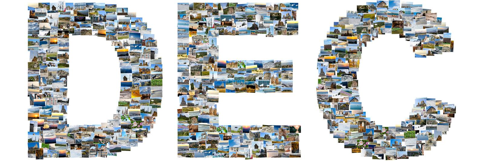 December made of travel photos royalty free stock image