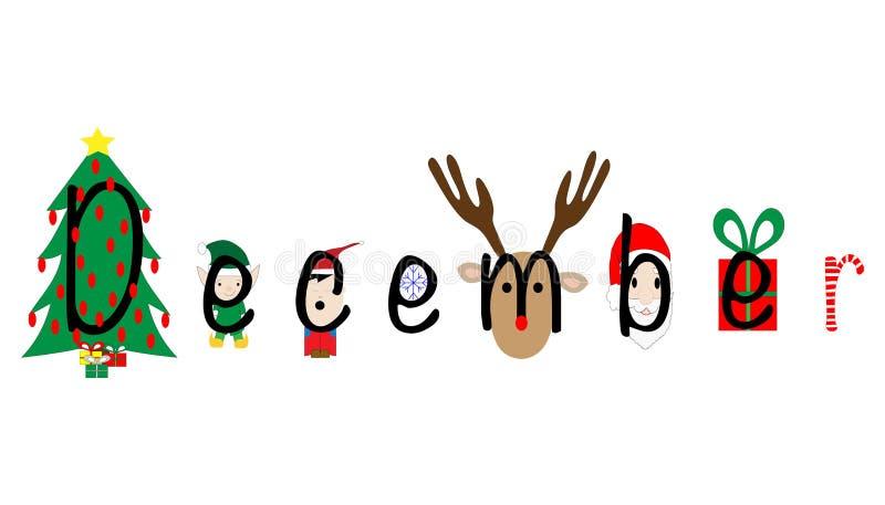 December illustrerade med feriesymboler vektor illustrationer