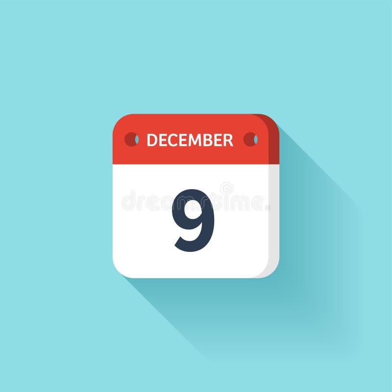 December 9 Isometrisk kalendersymbol med skugga Vektorillustration, lägenhetstil Månad och datum söndag måndag, tisdag royaltyfri illustrationer