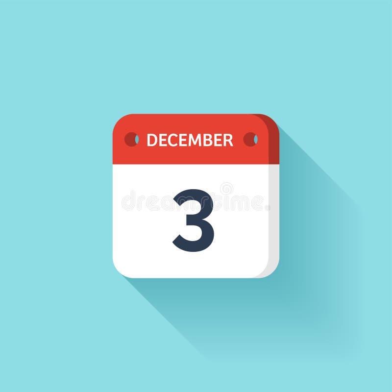 December 3 Isometrisk kalendersymbol med skugga Vektorillustration, lägenhetstil Månad och datum söndag måndag, tisdag vektor illustrationer