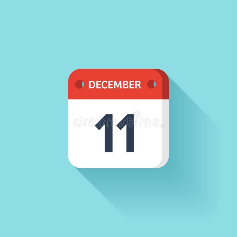 December 11 Isometrisk kalendersymbol med skugga Vektorillustration, lägenhetstil Månad och datum söndag måndag, tisdag royaltyfri illustrationer