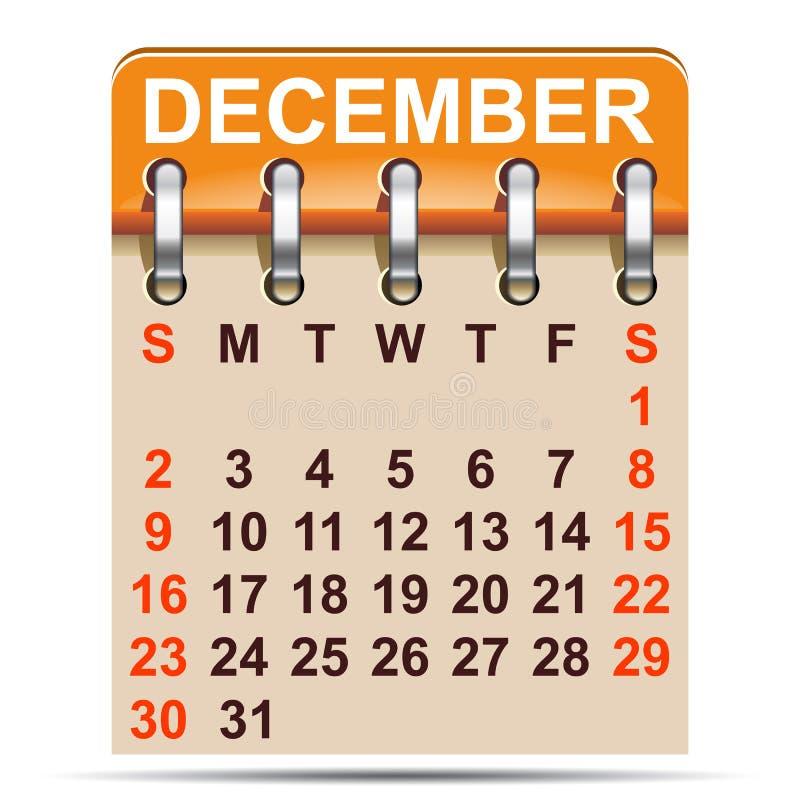 December kalender av 2018 år - royaltyfri illustrationer