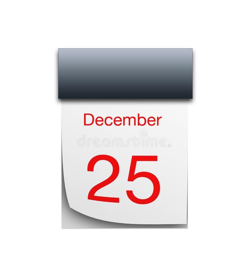 December-kalender op witte achtergrond wordt geïsoleerd die stock illustratie