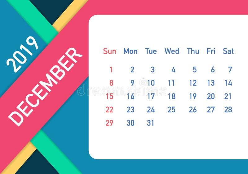 December 2019 kalenderblad Kalender 2019 i plan stil Format A5 också vektor för coreldrawillustration vektor illustrationer