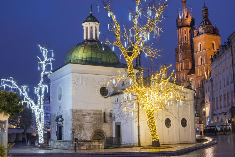Blue hour, Christmas decorations, Old Town, Main Market Square, Krakow, Poland stock photography