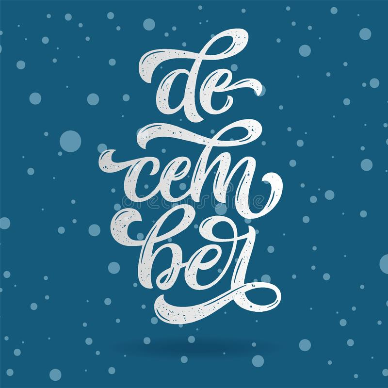 December lettering typography. Typography creative design for greeting card, invitation, poster, holiday banner, blog, T-shirt pri royalty free illustration