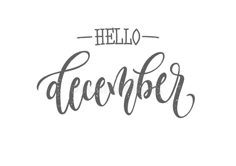 December lettering typography. Modern winter calligraphy. Vector illustration on isolated background. vector illustration