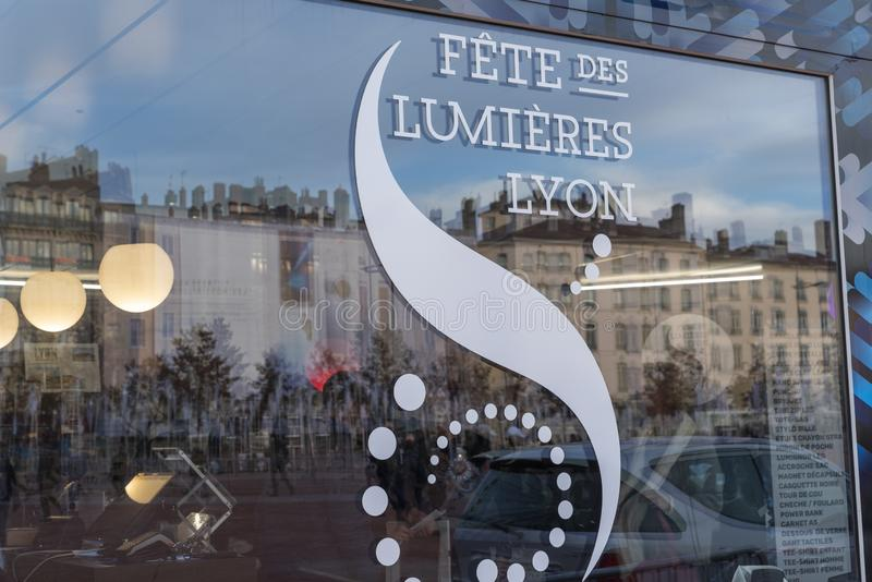 Lights festival in Lyon in France stock photos