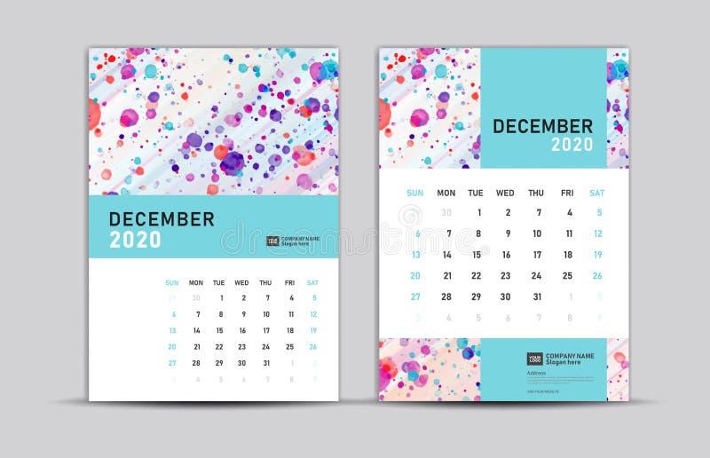 DECEMBER 2020-mall, Desk endar 2020, trendy bakgrund, vektorlayout, tryckmedier, reklam, a5, a4, a3-storlek, royaltyfri illustrationer