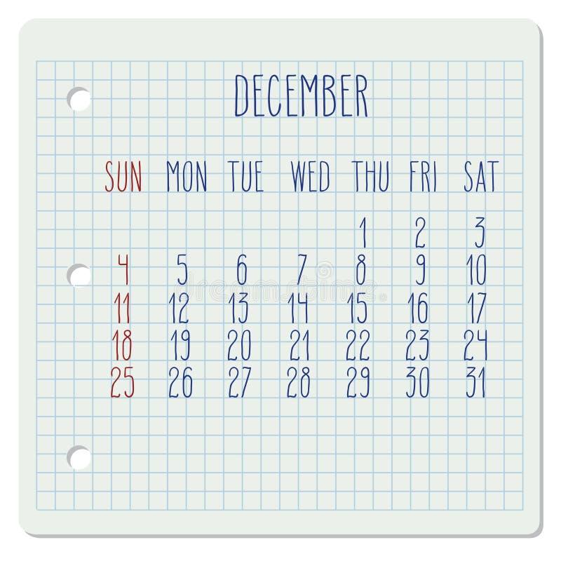 Calendar Pages Vector : December monthly calendar stock vector image