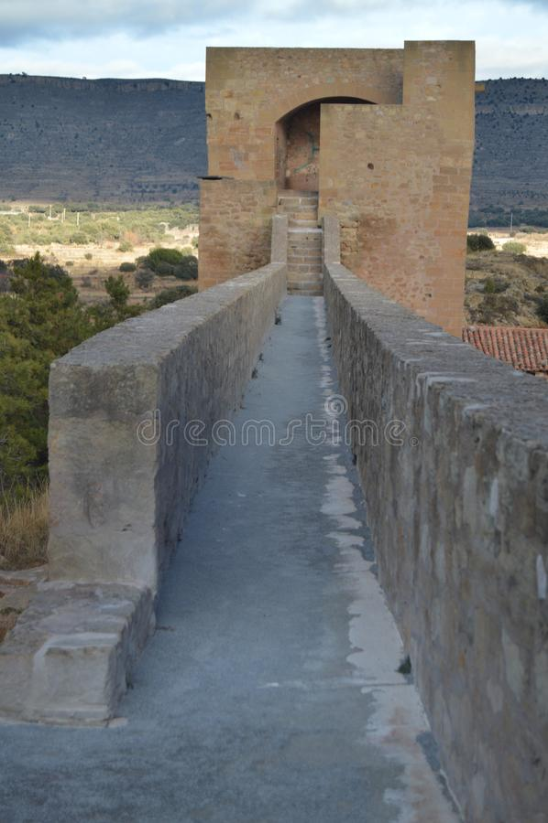 December 27, 2013. Mora De Rubielos. Teruel, Aragon, Spain. Interior Walls Of Mora De Rubielos Towers. History, Travel, Nature, royalty free stock image