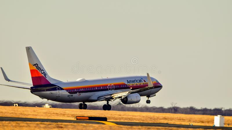 American Airlines Boeing B737 Air Cal retro livery landing. stock photos