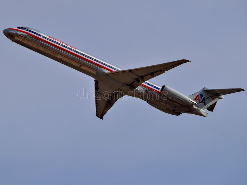 American Airlines McDonald Douglas MD80 taking off. stock photo