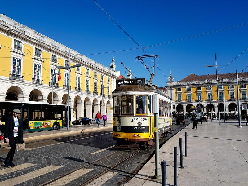 December 22nd, 2017, Lisbon, Portugal - traditional ground metro at the Commerce Square, also known as the Palace Yard. Because it was the location of the Royal stock photos