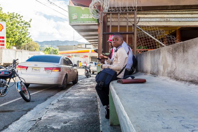 Dramatic angle image of a bus stop in a small village in the dominican republic. royalty free stock photo