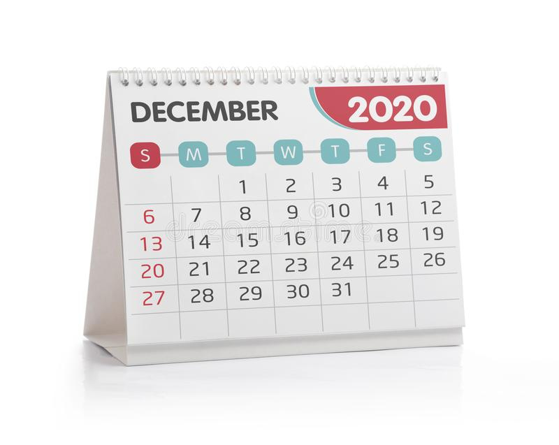 December 2020 Office Calendar. Isolated on White royalty free stock image