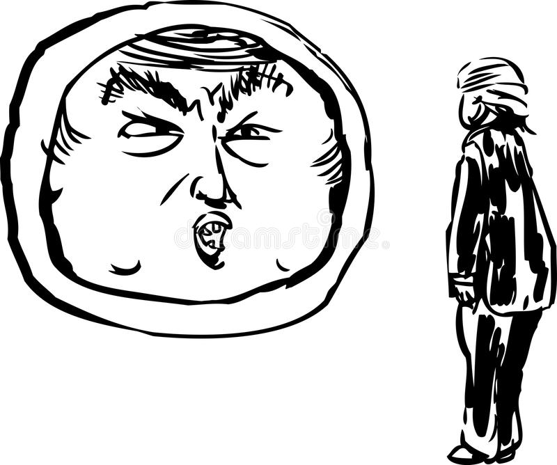 Outline cartoon of Donald Trump Talking to Himself in Mirror. December 12, 2017. Outlined caricature of Donald J. Trump facing a mirror floating above the ground vector illustration