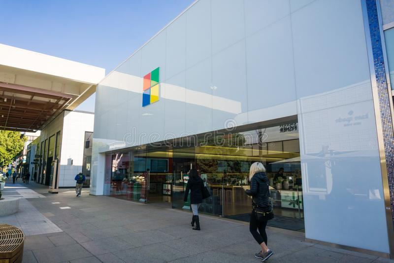 December 7, 2017 Palo Alto / CA / USA - Microsoft store front located at Stanford Shopping Center, San Francisco bay area royalty free stock photos