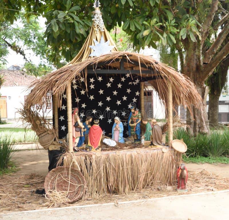 11 december, 2016, Paraty, Brazilië Kerstmis wordt gezien in het Dorpsvierkant van Paraty, Brazilië royalty-vrije stock foto