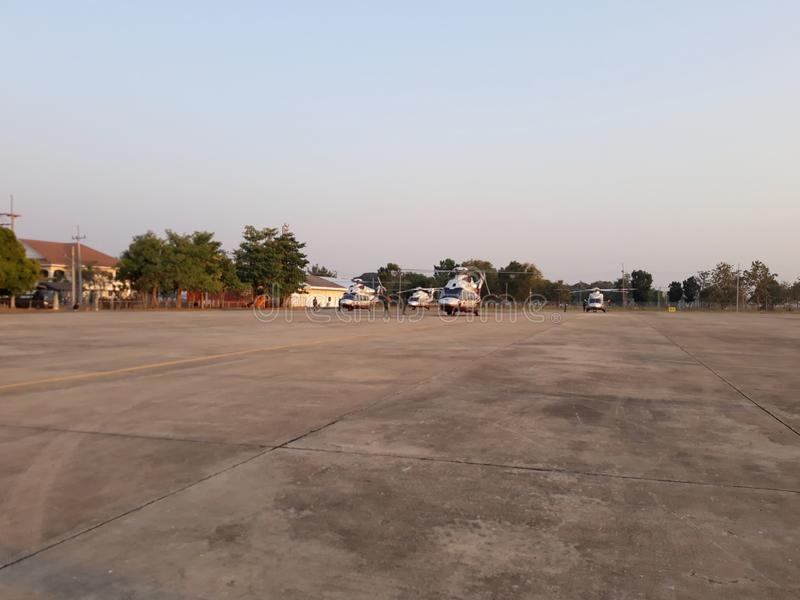 24 December 2019 Phitsanulok Thailand Landscape Airport Wing 46  With the military Herbert Cocks at the airstrip  Airport concept royalty free stock photography