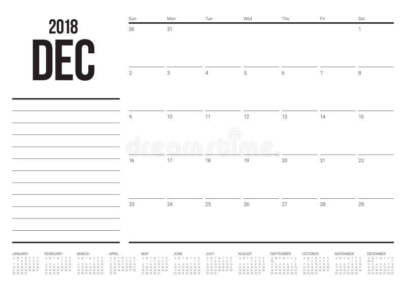 Download December 2018 Planner Calendar Vector Illustration Stock Vector - Illustration of planning, personal: 104515952