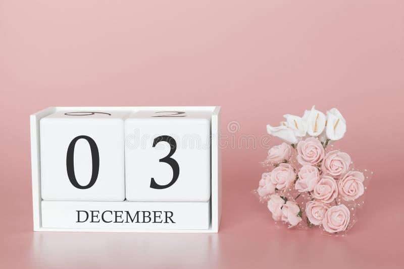 03 december r Kalenderkubus op moderne roze achtergrond, concept zaken en een belangrijke gebeurtenis stock afbeeldingen