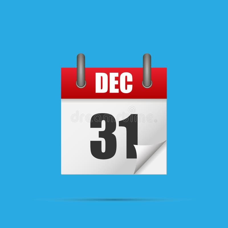 31 December Realistisch kalenderpictogram stock illustratie