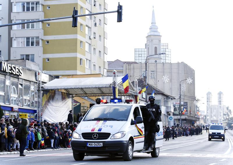 Military car at parade in Zalau, Romania. December 1, 2018 Romanian soldier mounted on a Mercedes car during the parade 100th anniversary of republican life royalty free stock image
