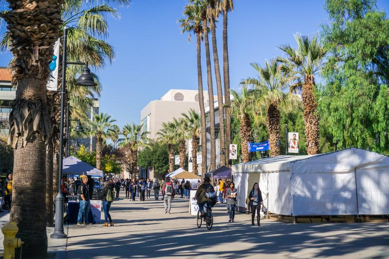 December 6, 2017 San Jose / CA / USA - Farmers ` Market on one of the alleys in the San Jose State University campus royalty free stock images