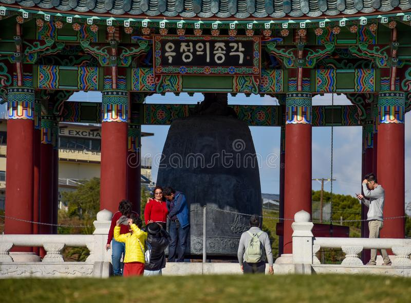 December 27, 2018 San Pedro, Ca. Korean Bell of Friendship and Bell Pavilion royalty free stock image