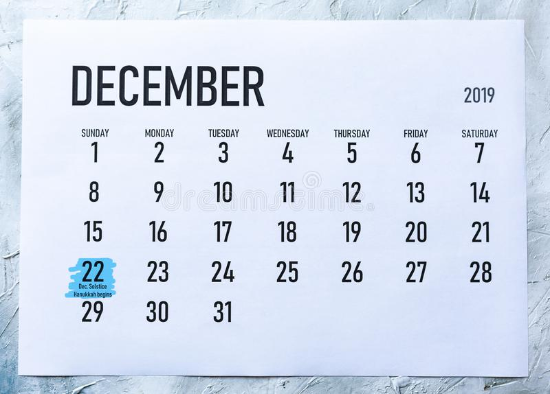 December solstice and hanukkah beginning day. Monday, December 22 marked on December 2019 calendar stock photos