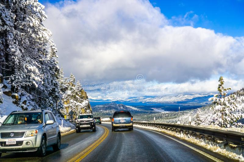 December 25, 2018 South Lake Tahoe / CA / USA - Travelling towards south Lake Tahoe on a sunny winter day royalty free stock photos
