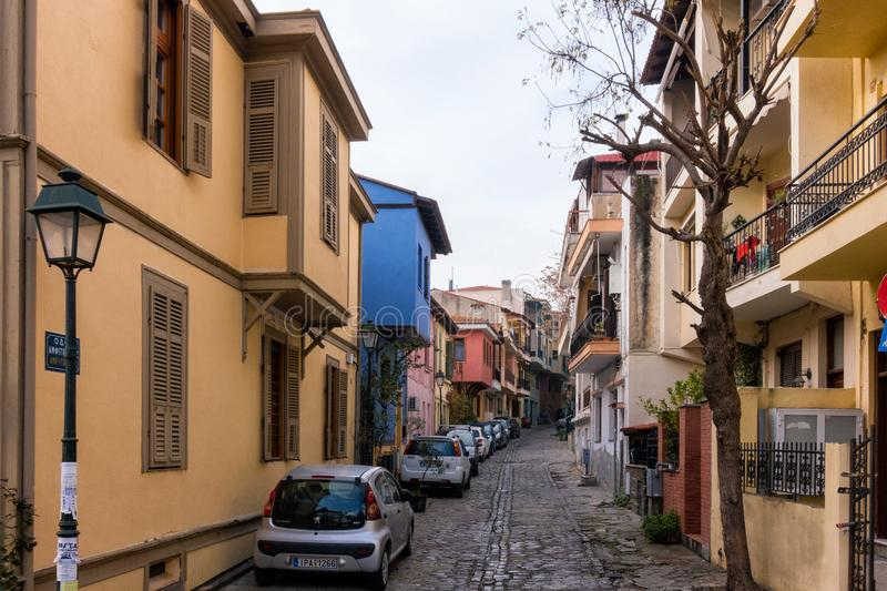 December 21st 2019 - Thessaloniki, Greece - Street in the Ano Poli neighborhood of Thessaloniki, with houses of traditional archit stock images