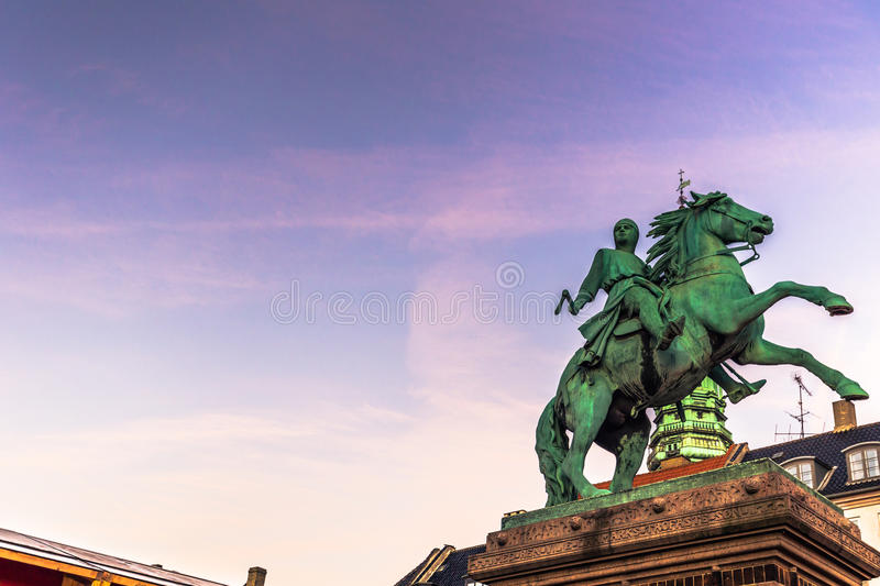December 02, 2016: Statue of a medieval knight in central Copenhagen, Denmark stock images