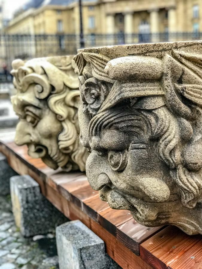 Stone sculptures on the Place du Pantheon, Paris, France. December 2017: Stone sculptures on the Place de Pantheon, Paris, France royalty free stock images