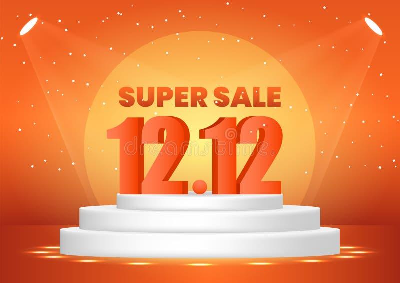 12 december super verkoop het winkelen dag op de banner van het voetstukweb stock illustratie