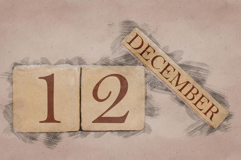 December 12th. Day 12 of month, calendar in handmade sketch style. pastel tone. autumn month, day of the year concept. Time, light, background, date, number royalty free stock photos